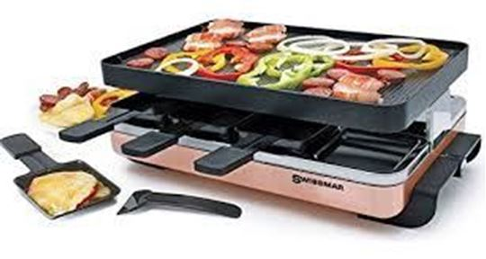 Picture of Swissmar Zermatt 8 Person Copper Raclette Party Grill with Reversible Grill