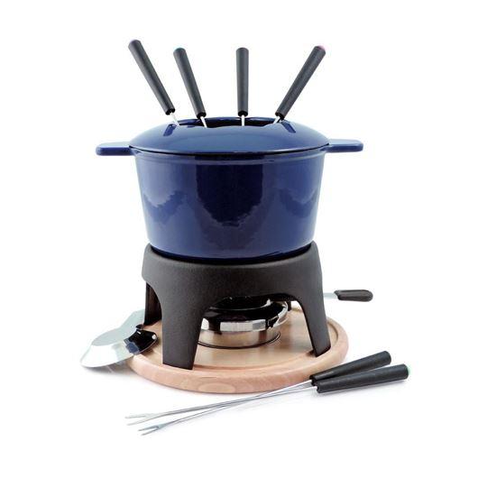 Picture of Sierra 11-PC Cast Iron Fondue Set Deep Blue