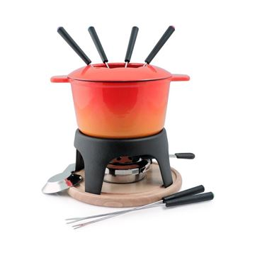 Picture of Sierra 11-PC Cast Iron Fondue Set Orange