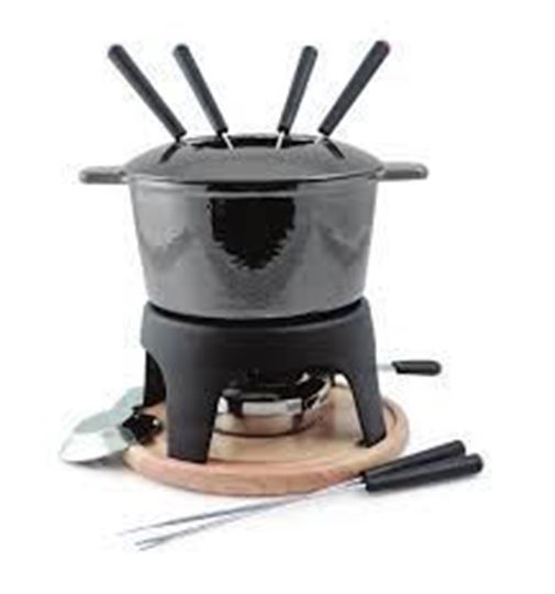 Picture of Sierra 11-PC Cast Iron Fondue Set Metallic Black