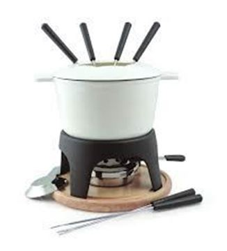 Picture of Sierra 11-PC Cast Iron Fondue Set Matte white
